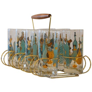Mid Century Modern Eight Mid-Century Tom Collins Glasses with Exotic Barware Decoration & Caddy
