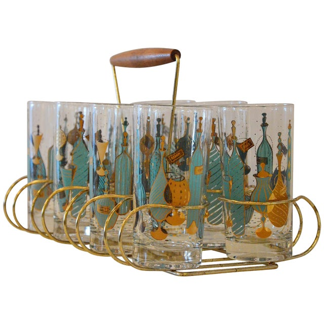 Mid Century Modern Eight Mid-Century Tom Collins Glasses with Exotic Barware Decoration & Caddy - Image 1 of 11