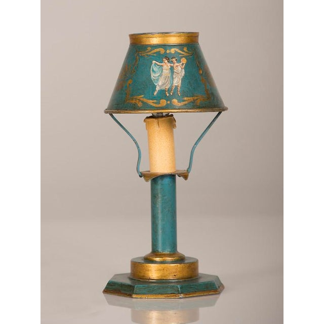 A rare Louis XVI style hand painted tôle lamp from France c. 1840 wired for American electricity For Sale - Image 4 of 9
