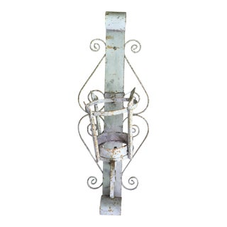 1960s Industrial Tall Decorative Scroll Iron Wall Sconce For Sale