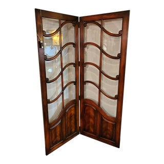 Theodore Alexander Glass and Mahogany 2 Panel Screen For Sale