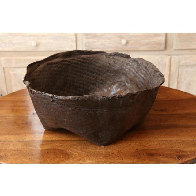 Brown Antique Primitive Hide Basket For Sale - Image 8 of 11