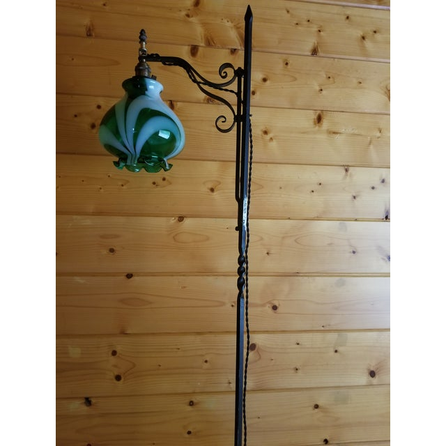 Vintage french green souffle blown glass three legged floor lamp art deco vintage french green souffle blown glass three legged floor lamp for sale aloadofball Images
