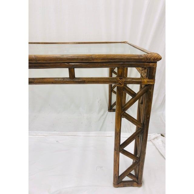 Brown Vintage Chinese Chippendale Rattan & Glass Top Table For Sale - Image 8 of 10