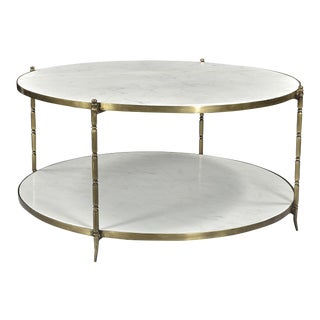 Blanco Marble Coffee Table Brass Finish