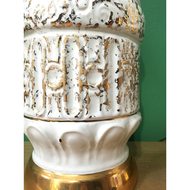 White Vintage 1950s White and Gold Table Lamps - a Pair For Sale - Image 8 of 10