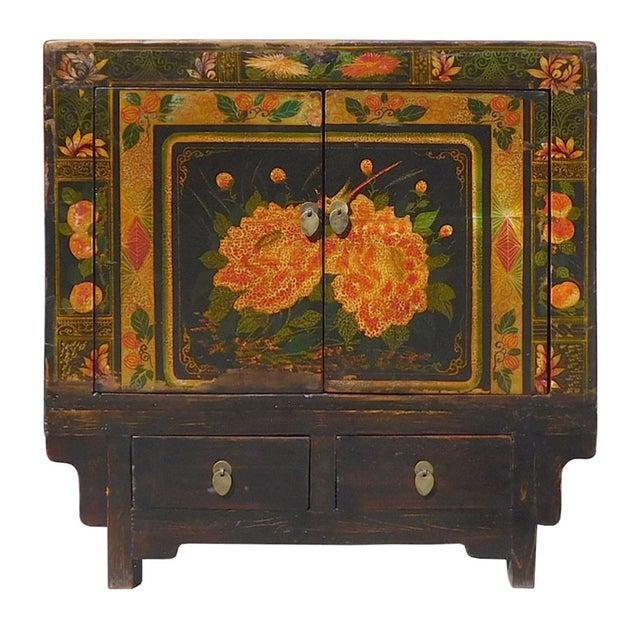 Oriental Black & Orange Floral Side Cabinet For Sale