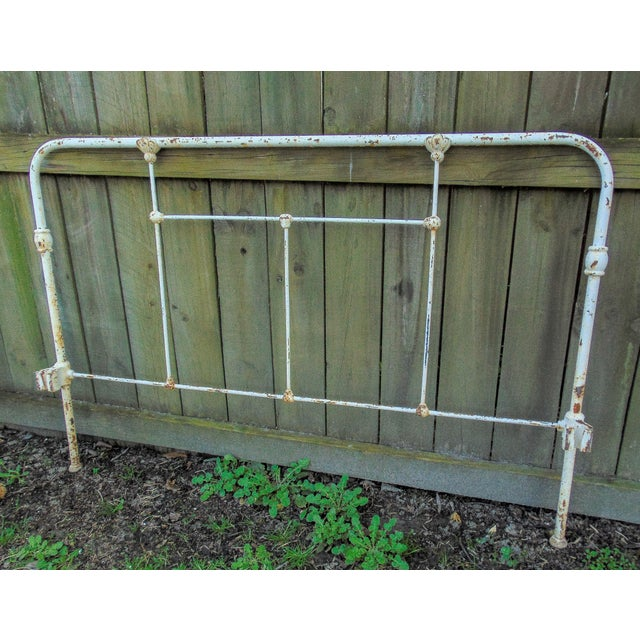 1900s Distressed Antique Iron Headboard & Footboard For Sale - Image 5 of 10
