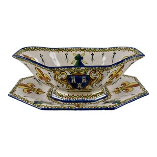 19-C. Alcide Chaumeil French Faïence Armorial Sauce Boat