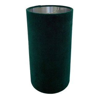 Custom Green Velvet Drum Lampshade with Silver Interior For Sale
