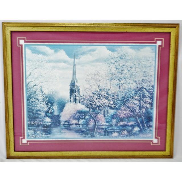 Blue Vintage Framed Sambataro Church Steeple Print For Sale - Image 8 of 12