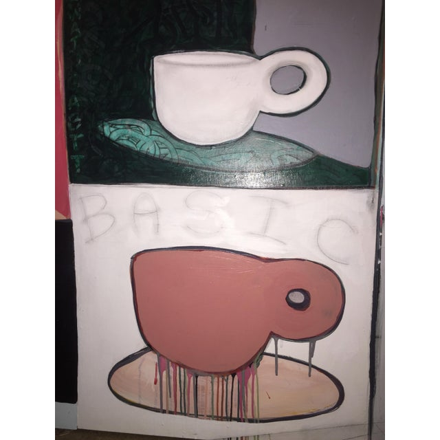 Wood Original Pop Art Coffee Cups Painting by California Artist Casey O'Connor For Sale - Image 7 of 11