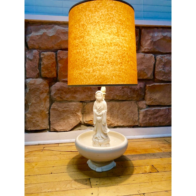 Oriental Porcelain Monk Table Lamp. It's in perfect condition, accompanied with brand new kraft paper lamp shade. Unique...