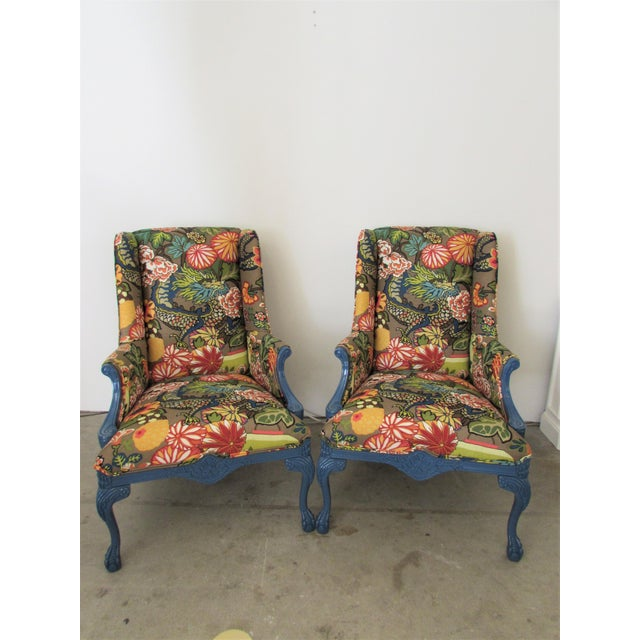 Pair of English Lacquered Georgian Style Gainsborough Armchairs For Sale In Raleigh - Image 6 of 11