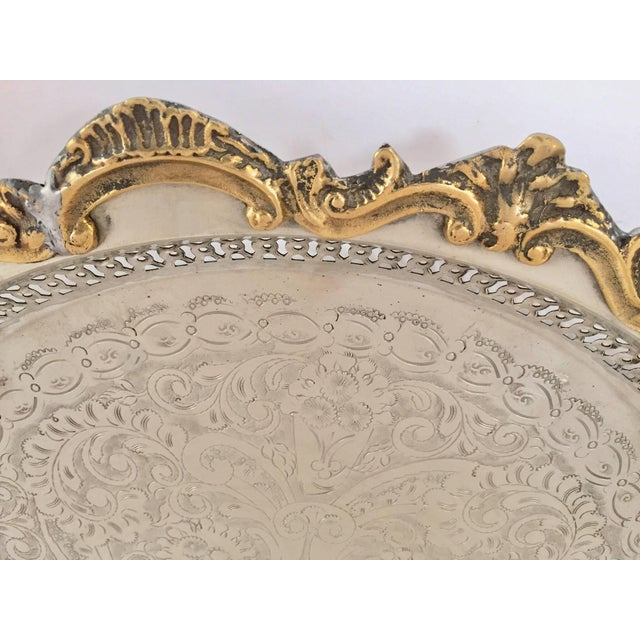 Moroccan Handcrafted Silver Round Tray With Brass Overlay Moorish Designs For Sale In Los Angeles - Image 6 of 13