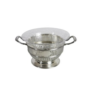 1920s Early American Sterling Silver & Crystal Serving Bowl