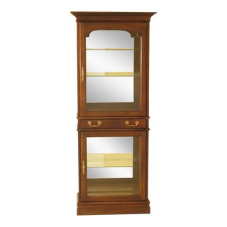 1980s Vintage Cherry 2-Door Curio Display Cabinet For Sale