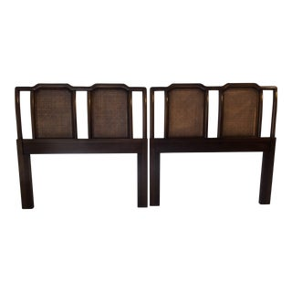 Henredon Asian Style Twin Caned Headboards - A Pair