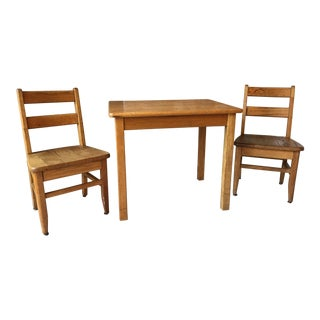1960s Vintage Solid Oak Children's Desk and Chairs- Set of 3 For Sale