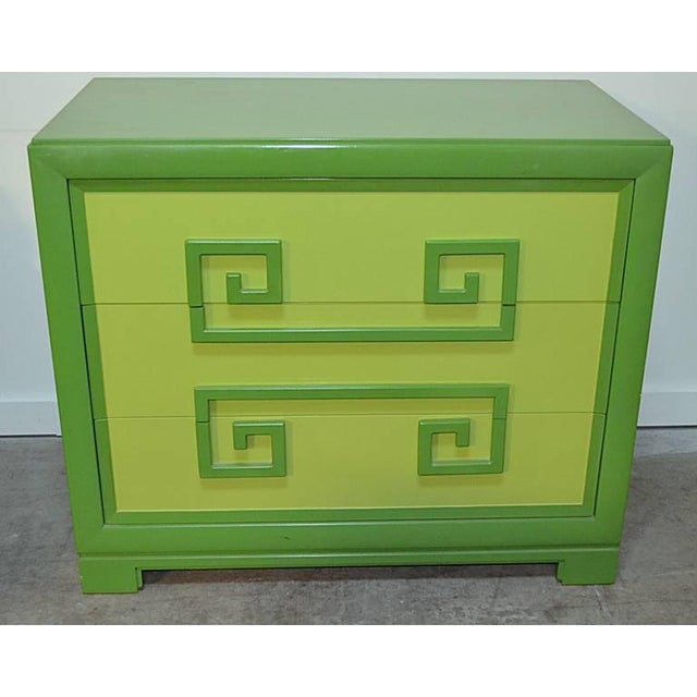 Pair of green on green Greek key three drawer chests by Kittinger. Excellent as found condition complete with sliding...