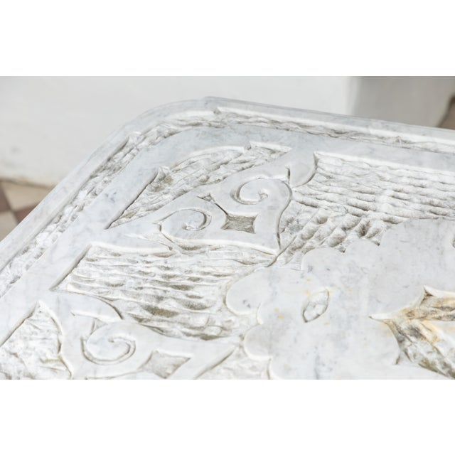 19th Century Castel Franco Hand Chiseled Marble Table with Iron Base For Sale - Image 11 of 12