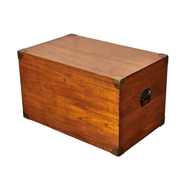 Metal English Trunk With Brass Corners For Sale - Image 7 of 7