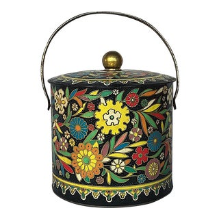 Vintage Floral Embossed Biscuit Tin With Lid For Sale