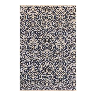 Cryena Modern Rebeca Blue/Ivory Wool & Viscouse Rug - 4'1 X 6'1 For Sale