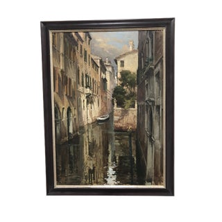 Vintage Original Oil on Canvas of a Canal in Venice For Sale