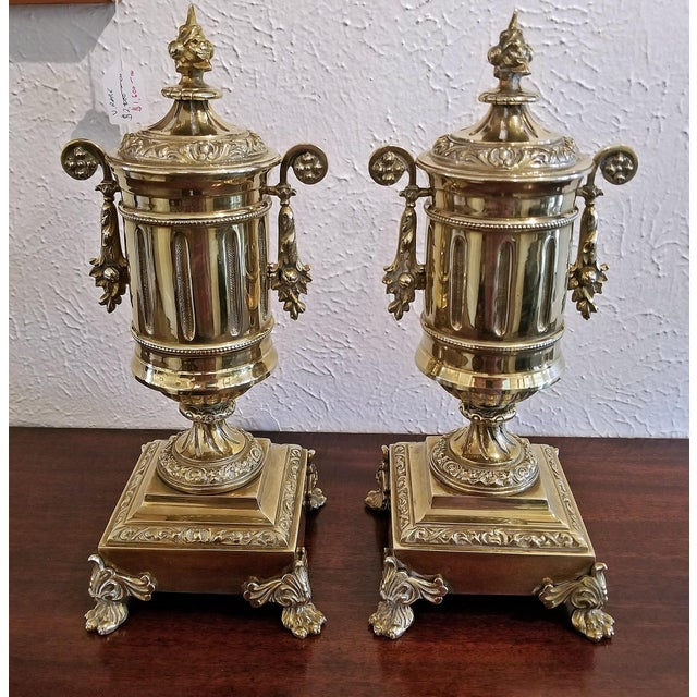 Pair of 19c French Neoclassical Style Brass Garnitures For Sale - Image 11 of 13