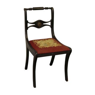 Wooden Black Chair With Red Floral Upholstered Seat For Sale