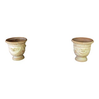 Late 20th Century French Terracotta Jardineres- A Pair For Sale