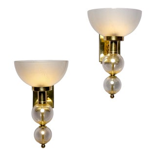 Murano Hand Blown Glass Sconces With Gold Flecks and Brass Fittings For Sale