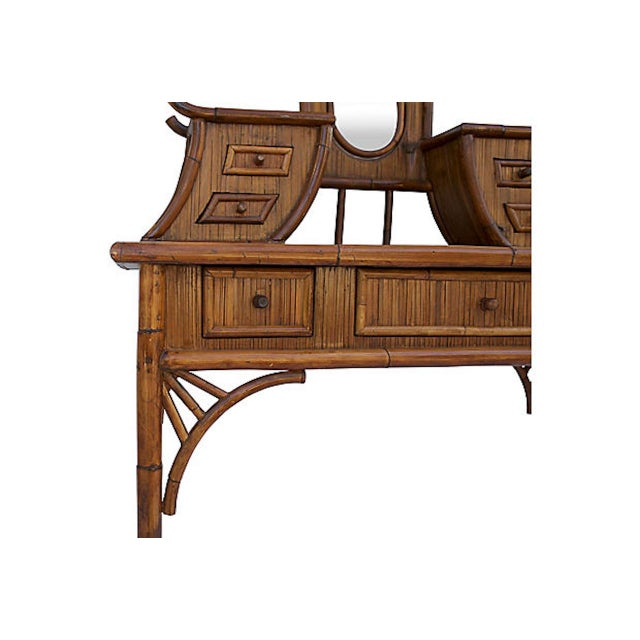 Wood Chinoiserie Rattan Vanity For Sale - Image 7 of 9