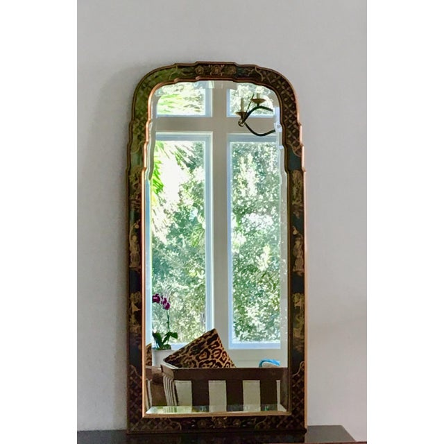 Glass 1980s La Barge Style Queen Anne Hand Painted Black Lacquer Mirror For Sale - Image 7 of 7