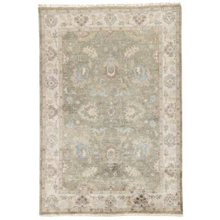 Jaipur Living Geneva Hand-Knotted Floral Green / Ivory Area Rug - 5′ × 8′ For Sale