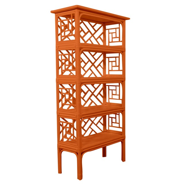 In a classic chinoiserie style, this étagère features a Rattan frame. Each joint is hand-wrapped with rawhide bindings to...