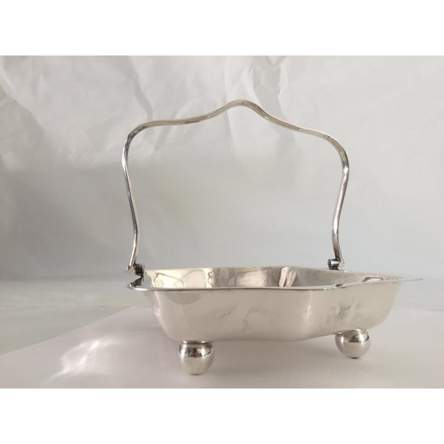 Mid-Century Silver Plate Wedding Basket For Sale In New York - Image 6 of 8