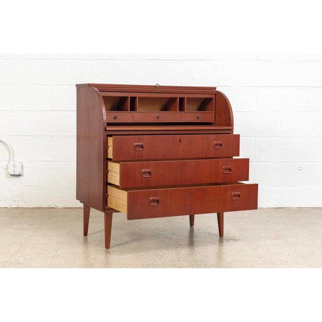 Gold Mid Century Swedish Egon Ostergaard Rolltop Secretary Desk For Sale - Image 8 of 11