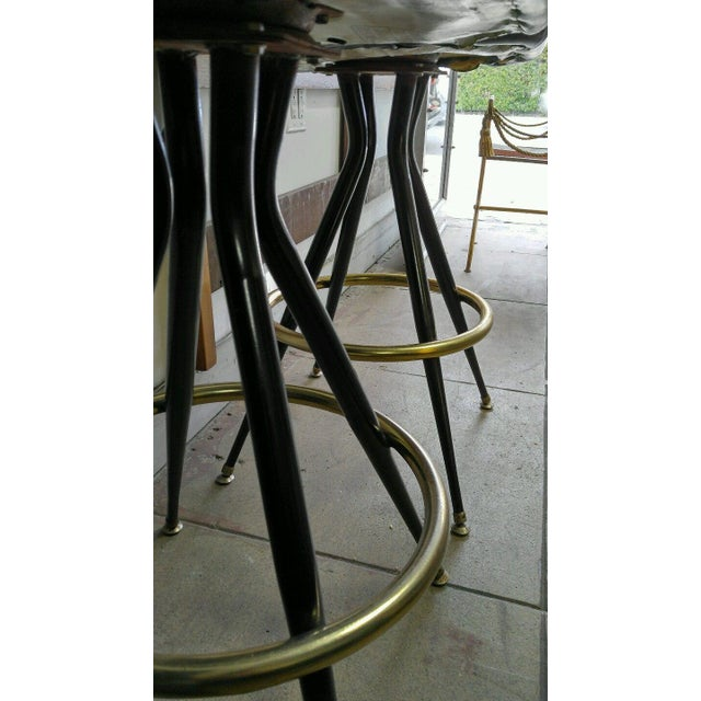 1960s Mid-Century Brass & Leatherette Swivel Bar Stools - a Pair For Sale - Image 5 of 10
