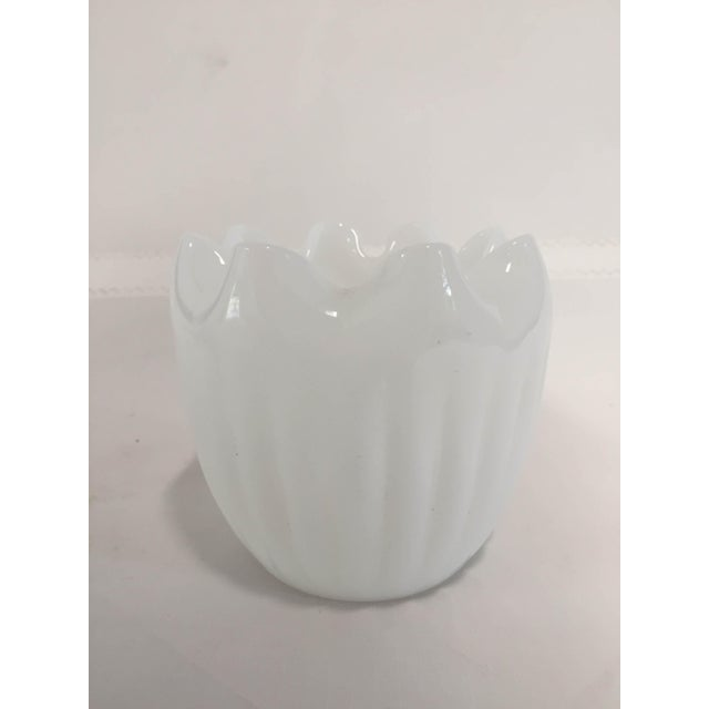 Vintage modern translucent white glass vase is like a mid century lily-of-the-valley blossom, with its pattern of vertical...