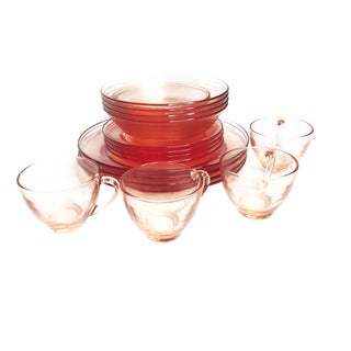 1960s Art Deco Pink Glass Dinnerware Set - 18 Pieces For Sale
