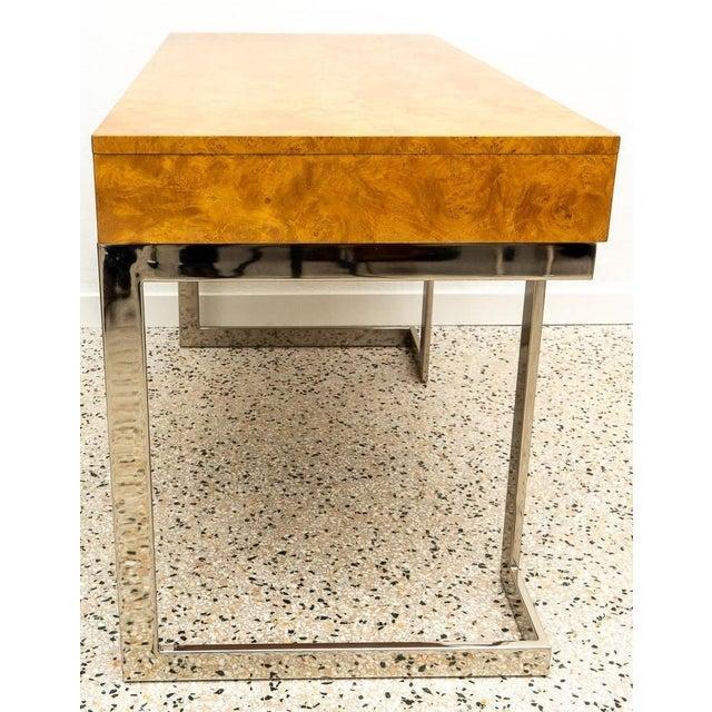 Milo Baughman Burlwood and Nickel Writing Desk by Milo Baughman For Sale - Image 4 of 12