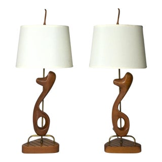 Vintage Mid Century Modern Sculptural Walnut Brass Table Lamps - a Pair