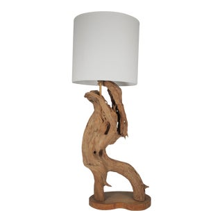 Large Organic Modern Sculptural Driftwood Table Lamp For Sale