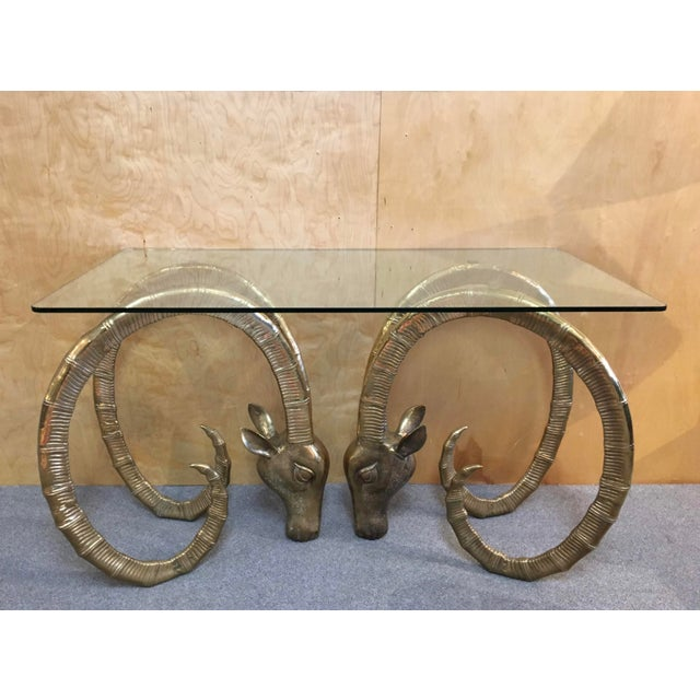 Boho Chic 20th Century Hollywood Regency Ibex Rams Head Console Table For Sale - Image 3 of 9