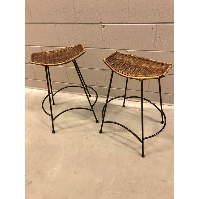 1970's Arthur Umanoff Wrought Iron & Wicker Stools - a Pair For Sale - Image 11 of 11