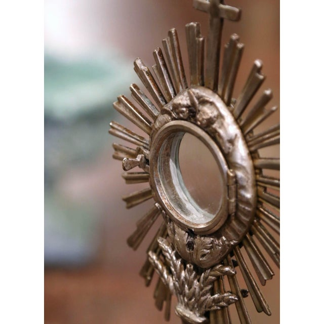 19th Century French Bronze Silvered Catholic Monstrance With Cross & Wheat Decor For Sale In Dallas - Image 6 of 9