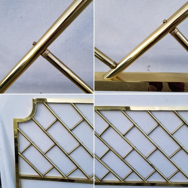 Vintage Chinoiserie Brass California King Headboard For Sale - Image 4 of 6