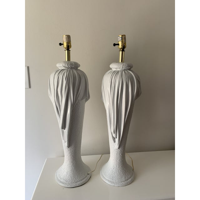 John Dickinson 1980s Plaster Draped Table Lamps in the Manner of John Dickenson - a Pair For Sale - Image 4 of 13
